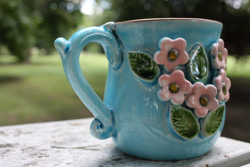 Virágos cappuccino kék